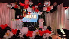 Black, white and red decoration in banquet hall