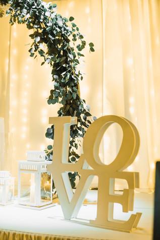 golden decoration love sign at wedding