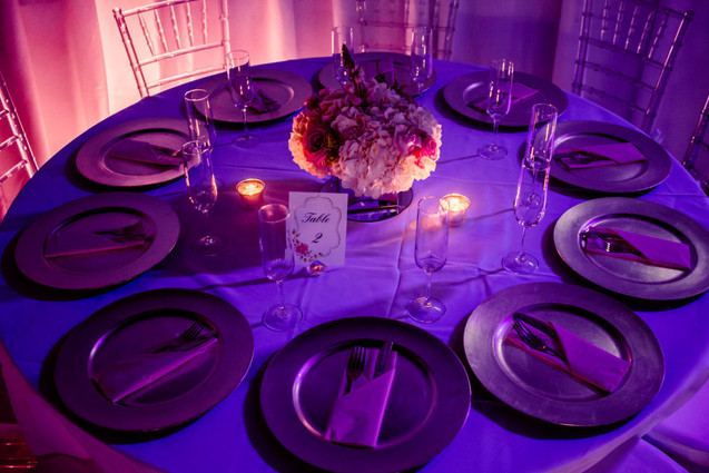 pink banquet table arrangement 15th birthday