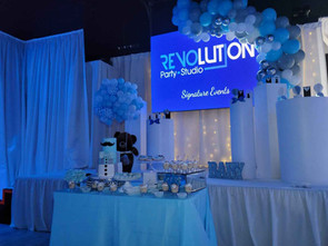 decoration with blue balloons for baby shower