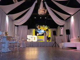 banquet hall in miami decorated yellow and black