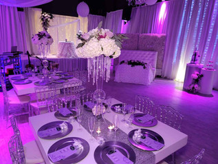 tables decorated for pink wedding in miami