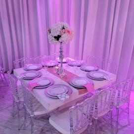 banquet hall centerpiece with flowers on 15th birthday