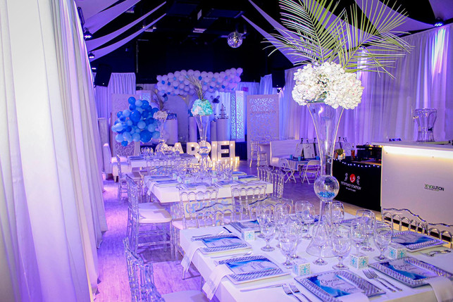 Christening blue and white decoration banquet hall in Kendall Miami