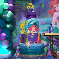 ariel themed cake at kids party in miami