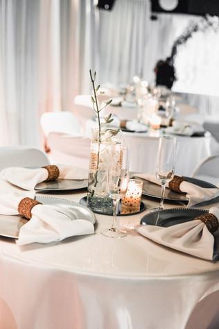 white centerpiece decoration at wedding