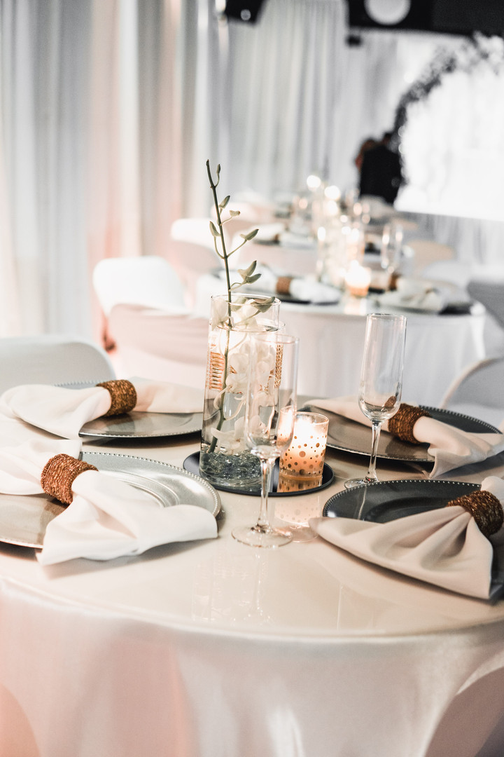 Banquet hall with white decoration in Kendall Miami