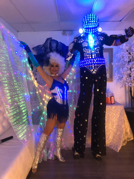 dancer and blue led robot