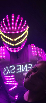 led robot with birthday girl at event venue