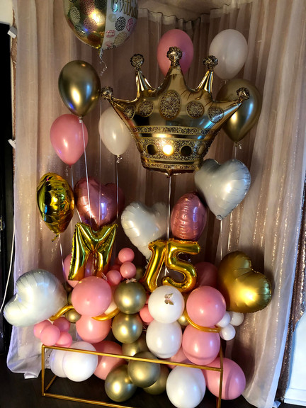 White, pink and golden decoration 15 party