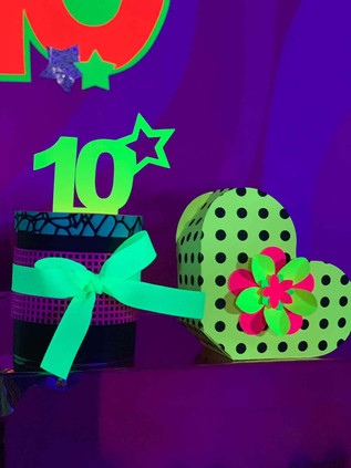 "Fluorescent green heart and ""10"" sign with black light"