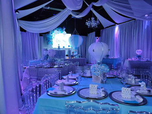 blue decorated banquet hall for baby shower