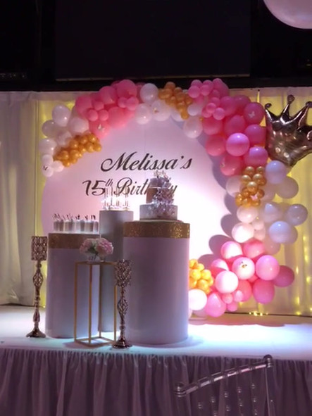event venue pink decorated with some balloons