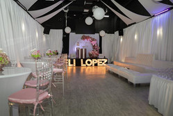 pink party at event hall in miami