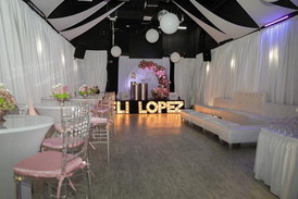 pink and white decorated party venue in Kendall Miami