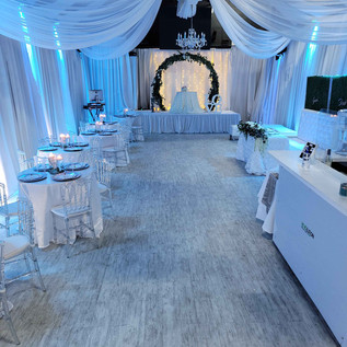 banquet hall with cyan lights for wedding