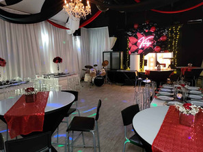 party hall decorated black red and white