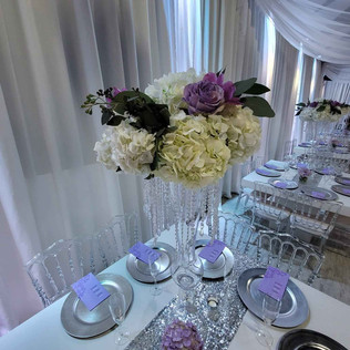 centerpiece with flowers at wedding in miami