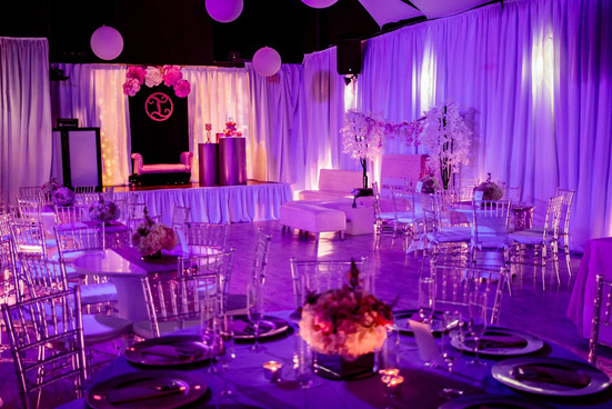 Elegant purple banquet hall in Kendall Miami
