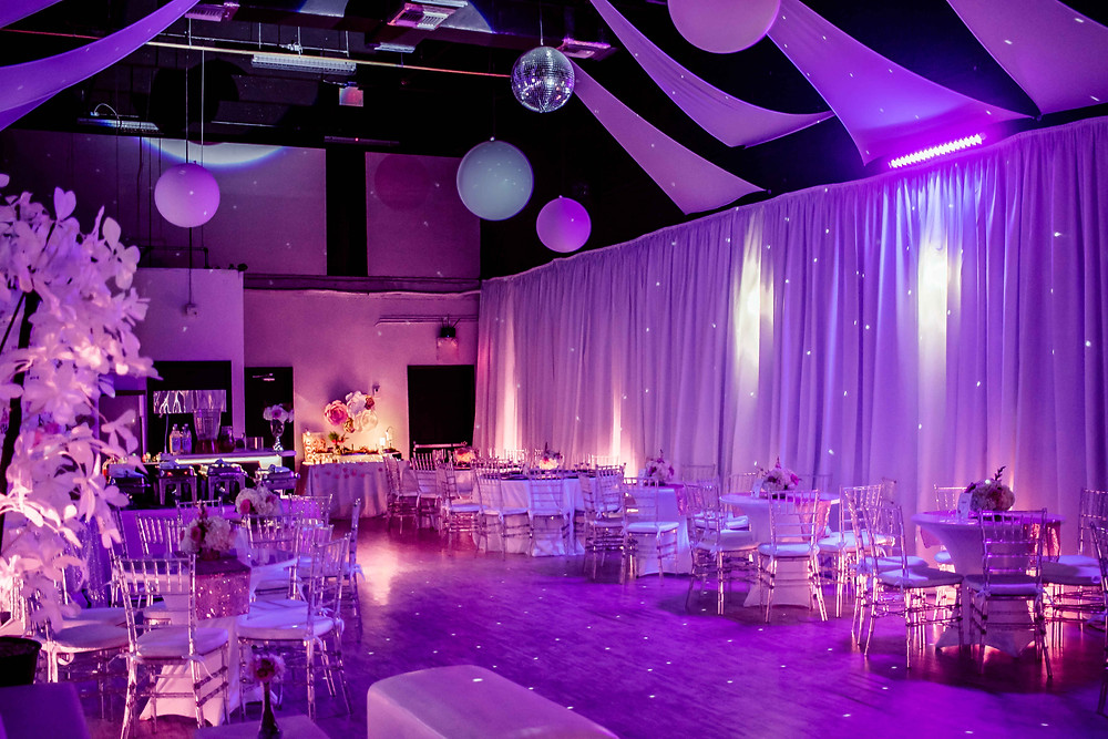 banquet hall in miami with fuchsia led lights