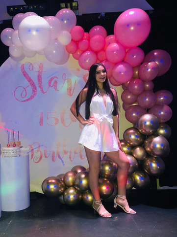 celebration 15th birthday pink themed in a banquet hall