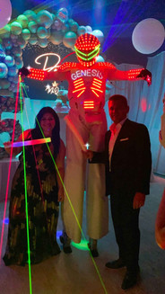 led robot at teen party in event venue