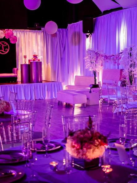 Purple and dark light decoration in banquet hall