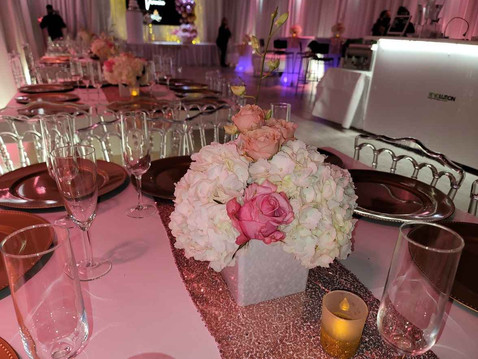 Pink decorated birthday party at banquet hall