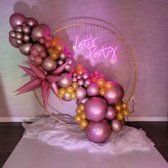 diagonal balloon arrangement at event venue