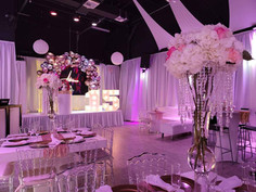 Event venue in miami with light pink decoration