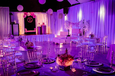 purple decoration at banquet hall for parties
