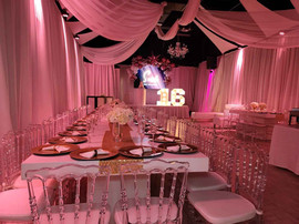 pink decorated banquet hall for sweet 16 party