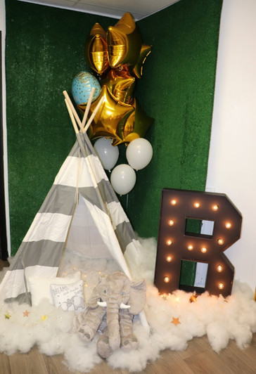 Baby shower camp theme decorated party venue