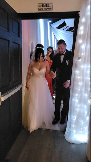 couple entering banquet hall in miami