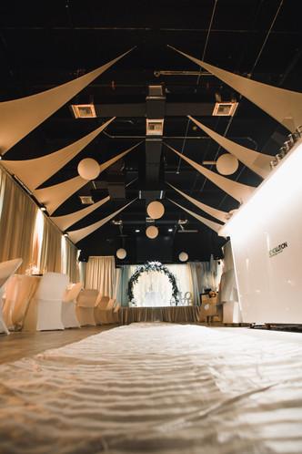 White carpet in a wedding venue in miami