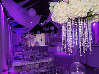 banquet hall in miami decorated pink for wedding