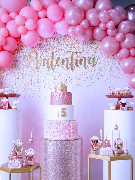 Pink balloons in party venue 15th birthday