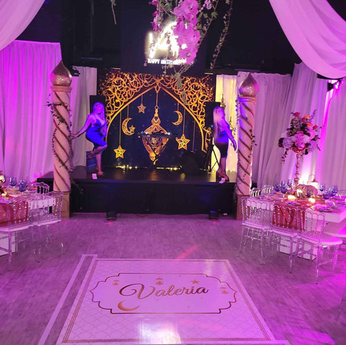 Stage decorated with Arabic theme