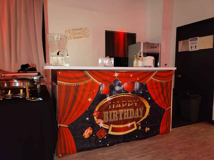 themed decorated bar table in party hall