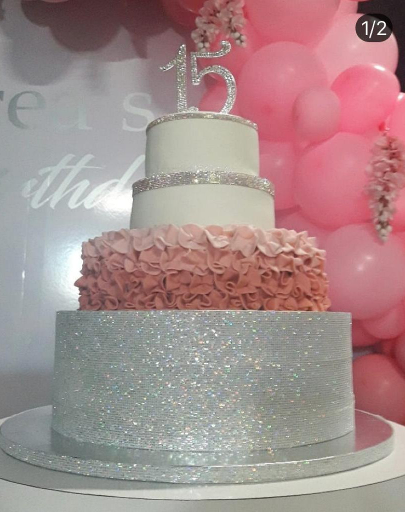 15 birthday cake decorated with white and grey colors