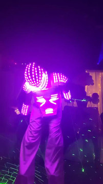 light show with led robot in sweet 16