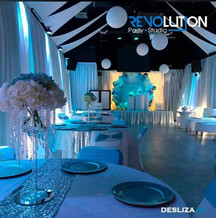 Banquet hall in miami with blue decoration