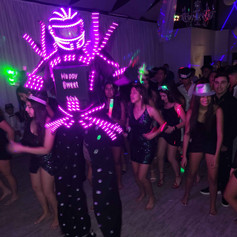 led robot dancing in banquet hall in miami
