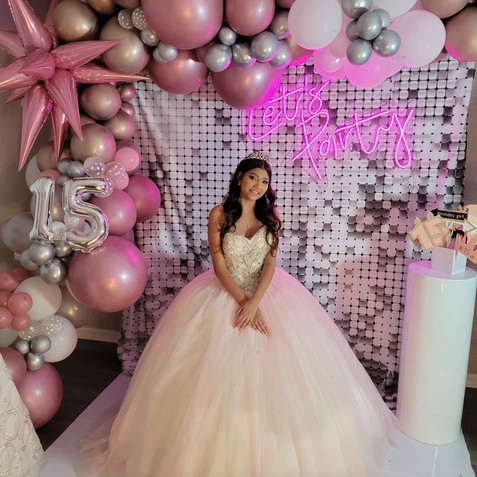birthday girl with dress at event venue