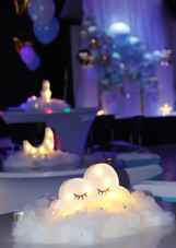 White centerpiece decorated party hall in miami