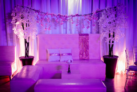 pink decorated furniture 15th birthday party
