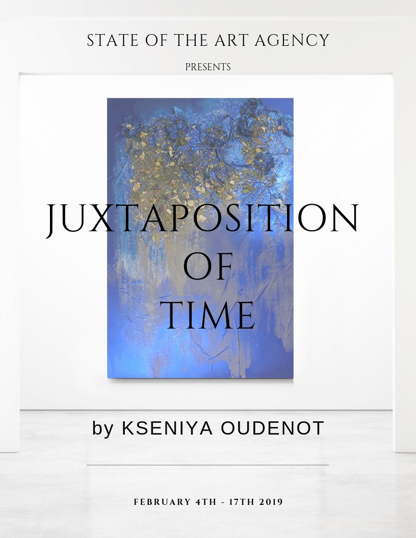 Ad for Juxtaposition Of Time | First Solo Exhibition of Kseniya Oudenot, blue painting