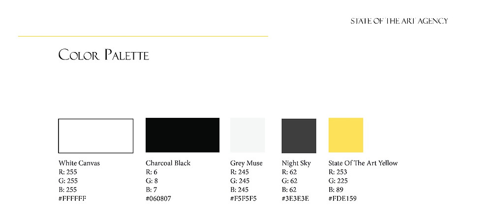 color palette, part of the State Of The Art Agency brand idenity