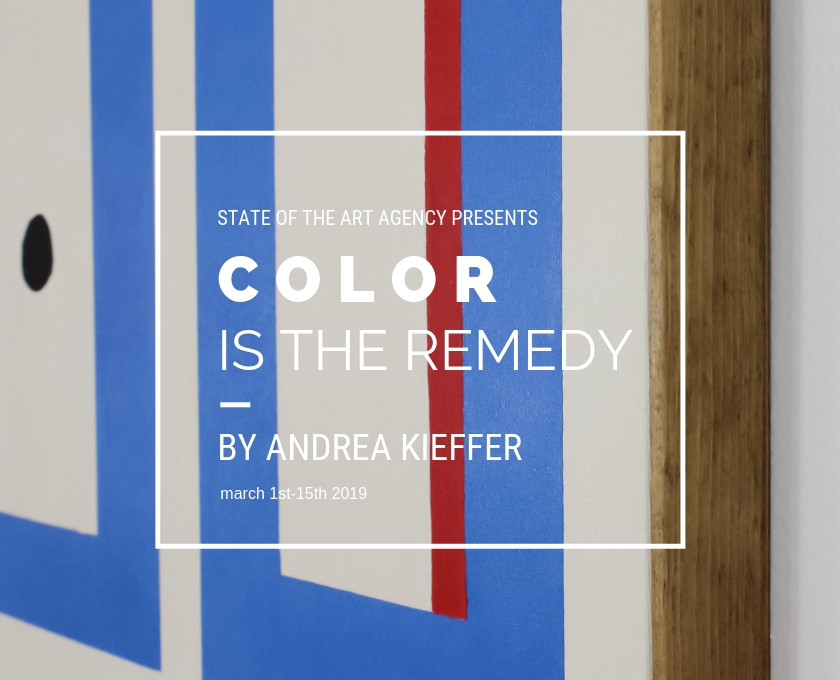 Ad for art exhibition, Color is the remedy