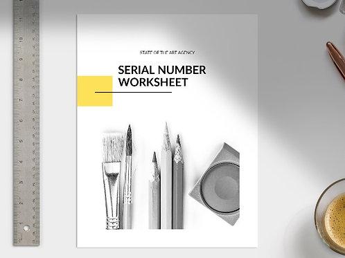Serial Number Worksheet - ESSENTIAL Learning Package